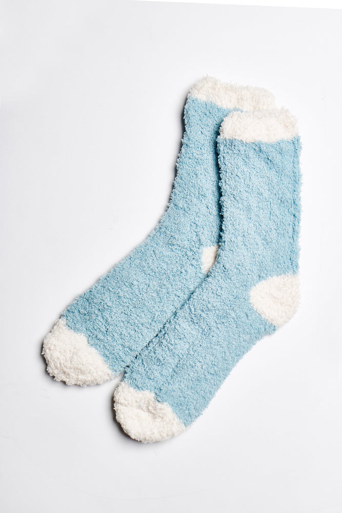 Ellie Fuzzy Socks in Blue-White - ALAMAE