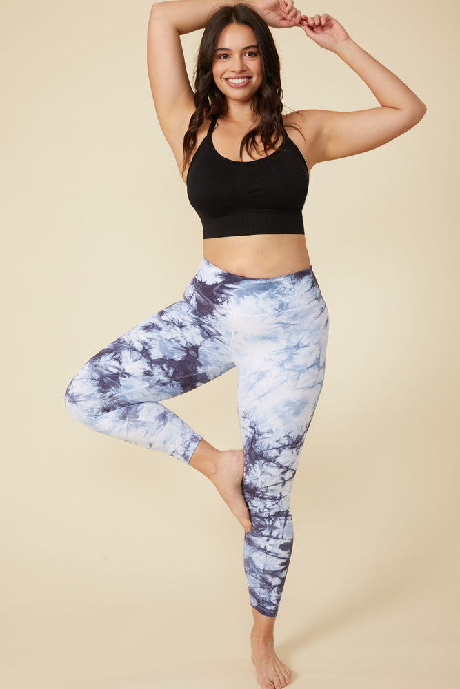 Dani Tie-Dye Legging in Blue-White - ALAMAE