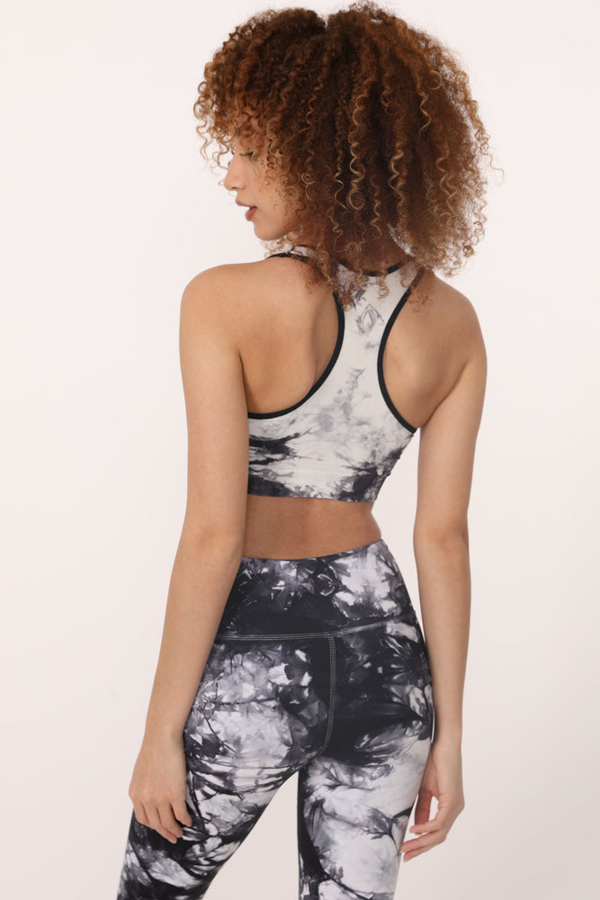 Dani Tie-Dye Bra in Black-White - ALAMAE
