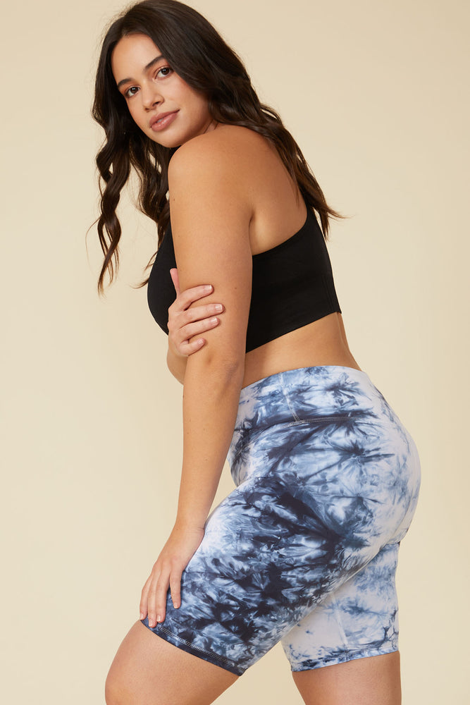 Dani Tie-Dye Biker Short in Blue-White - ALAMAE