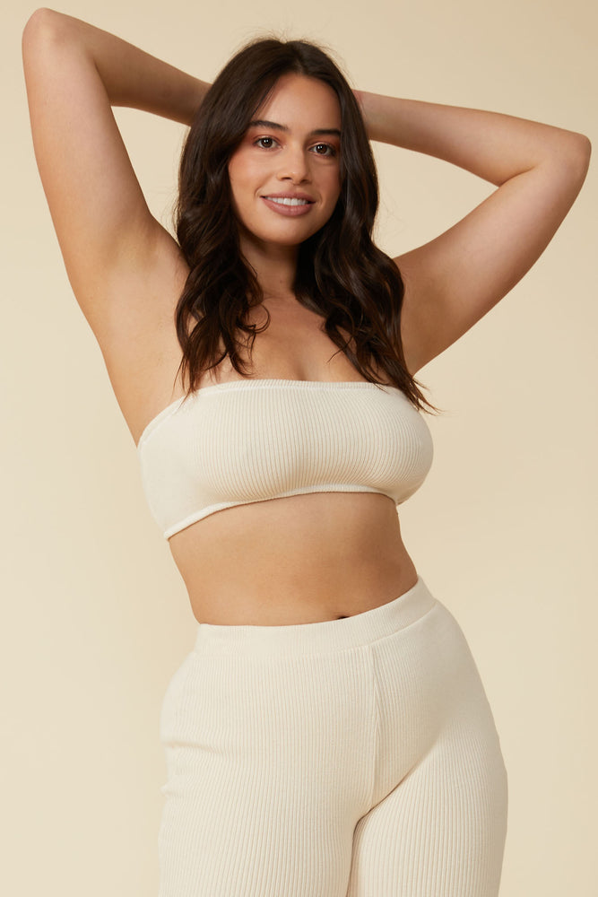 Load image into Gallery viewer, Gia Rib Bandeau in Natural White - ALAMAE