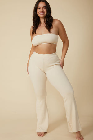 Load image into Gallery viewer, Gia Rib Flare Pant in Natural White - ALAMAE