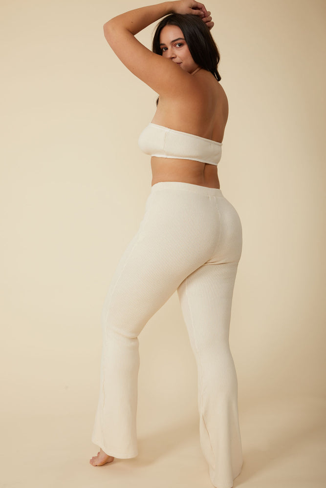 Gia Rib Flare Pant in Natural White - ALAMAE