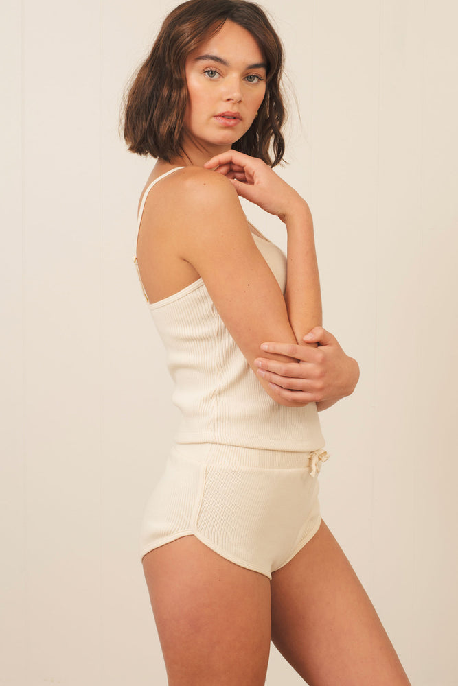 Gia Rib Short in Natural White - ALAMAE