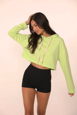 Load image into Gallery viewer, Jasmine Cropped Hoodie in Lime - ALAMAE