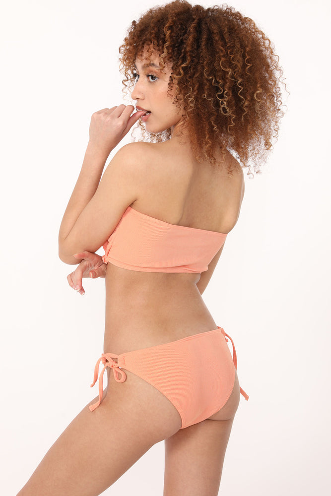 Double Tie Ruffle Swim Set in Peach - ALAMAE