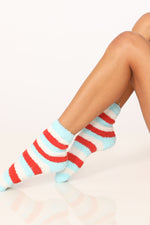 Frankie Fuzzy Striped Socks in Aqua-White-Red - ALAMAE