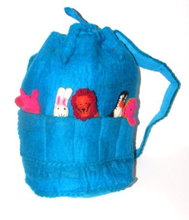 Rucksack with puppets - blue