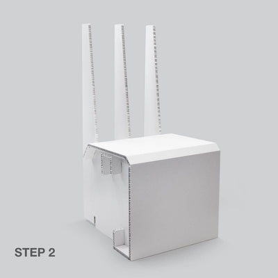 Stage 2 of White Chair for temporary home office solutions by Dufaylite