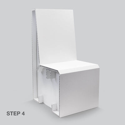 Finished White Chair for temporary home office solutions by Dufaylite