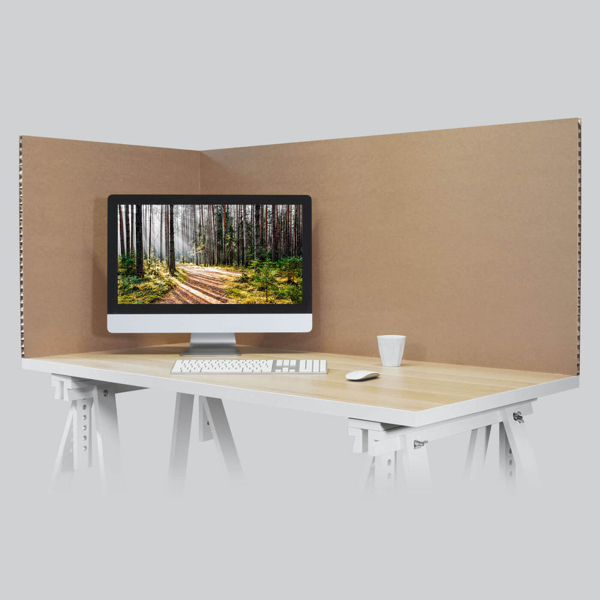 Protective office desk screen social distancing solutions by Dufaylite