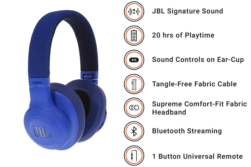JBL E55BT Signature Sound Wireless Over-Ear Headphones with Mic (Blue)