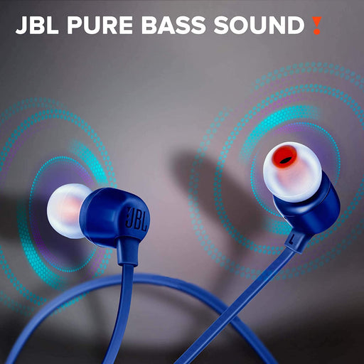 JBL Tune 165BT in-Ear Wireless Headphones with Dual Equalizer, 8-Hour Battery Life and Quick Charging (Blue)