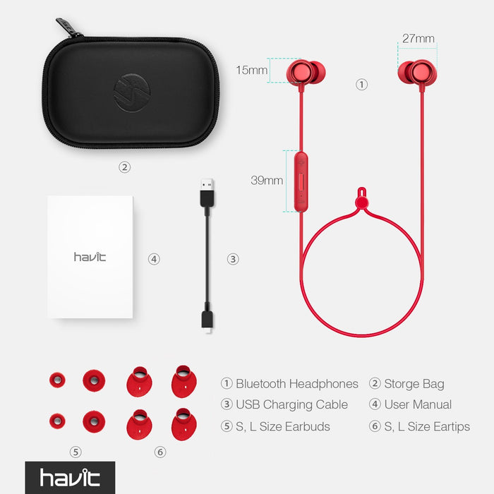 HAVIT Bluetooth Headphones 5.0, IPX5 Sweatproof Stereo Sound (i39, Red)