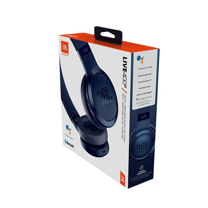JBL Live 400BT Wireless On-Ear Voice Enabled Headphones with Alexa (Blue)
