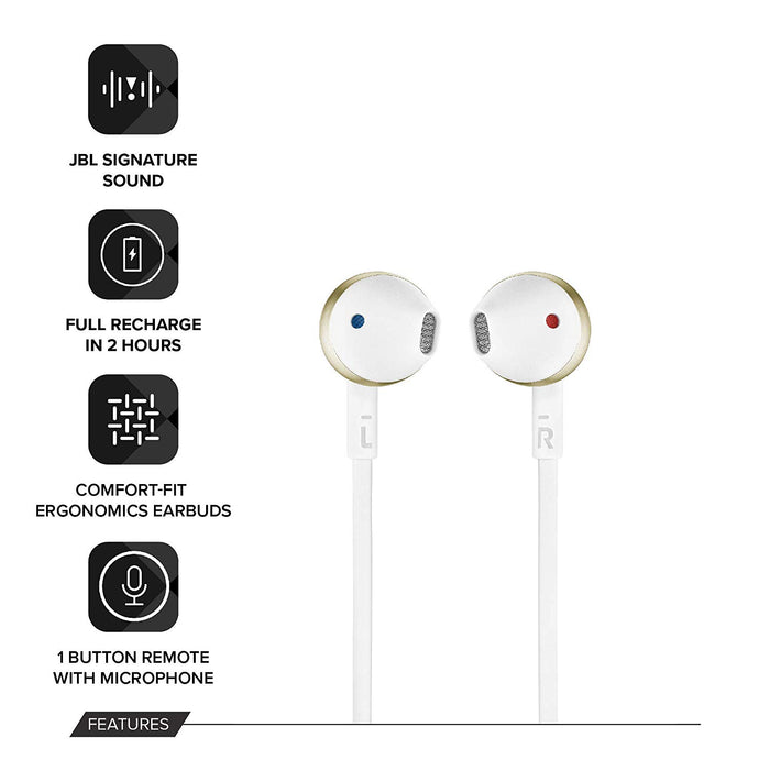 JBL T205BT Pure Bass Wireless Metal Earbud Headphones with Mic (Gold)