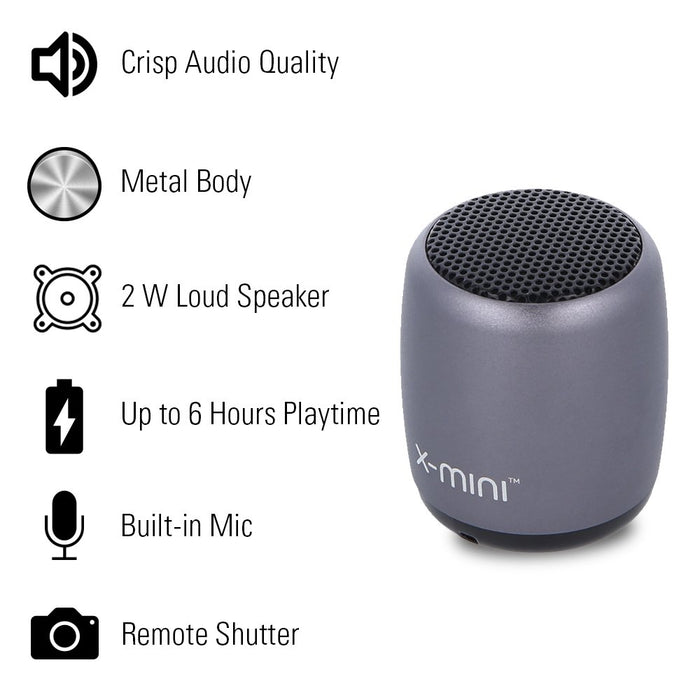 X-mini Nano-X 2W Ultra Portable Wireless Bluetooth Speaker with Mic and Remote Shutter (Mystic Grey)