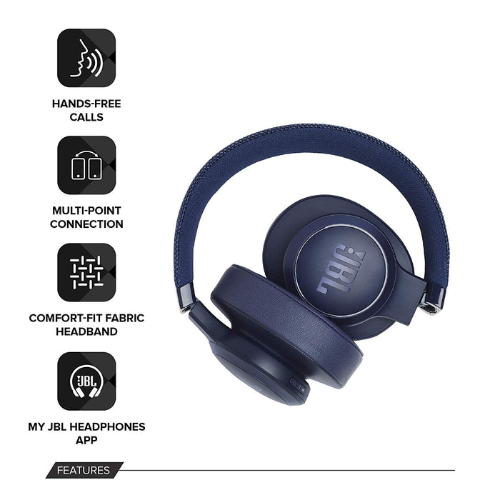 JBL Live 500BT Wireless Over-Ear Voice Enabled Headphones with Alexa (Blue)