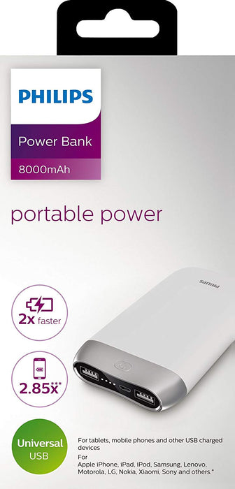 Philips DLP8006/97 8000mAH Lithium Ion Power Bank (White)