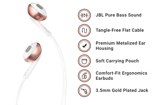 JBL T205 Pure Bass Metal Earbud Headphones with Mic (Rose Gold)