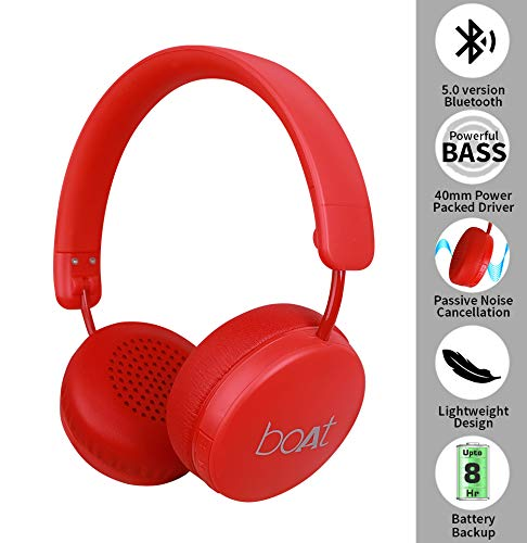 boAt Rockerz 440 Wireless Bluetooth Headset with in-Built Mic (Red)