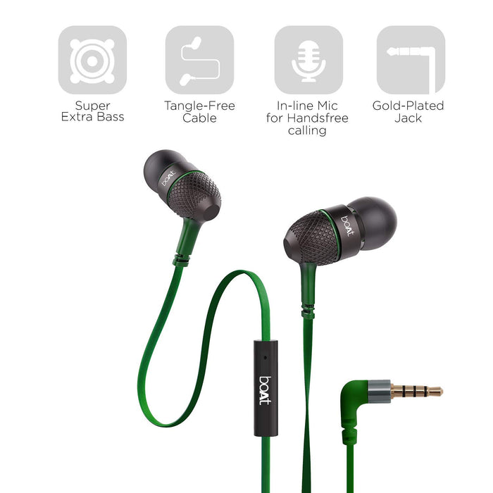 boAt Bass Heads 220 in-Ear Headphones with Mic (Forest Green)