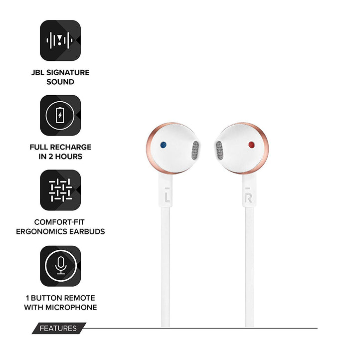 JBL T205BT Pure Bass Wireless Metal Earbud Headphones with Mic (Rose Gold)