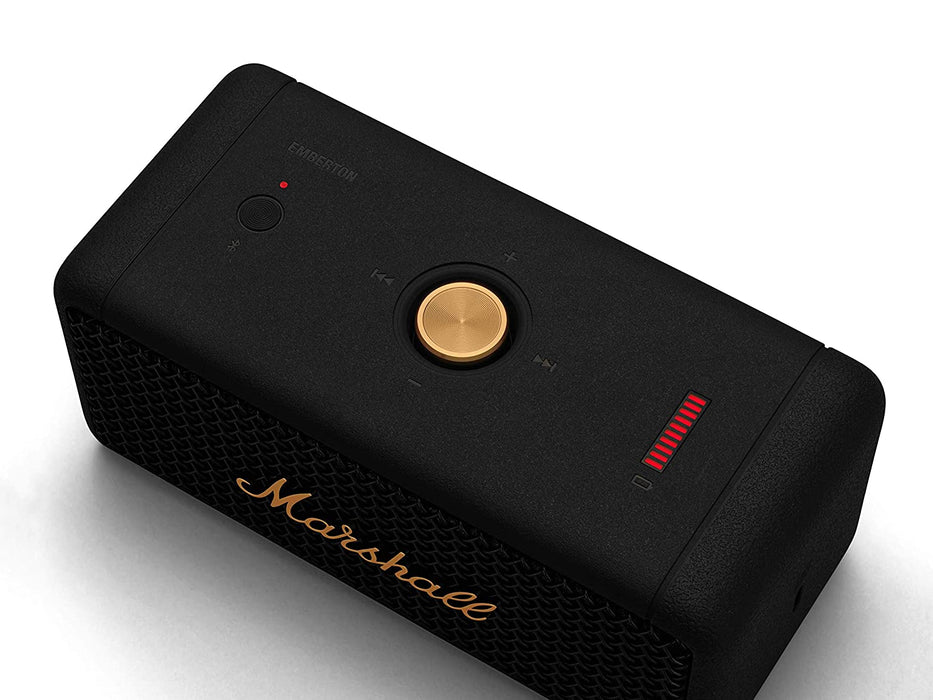 Marshall Emberton Portable Bluetooth Speaker - Black and Brass