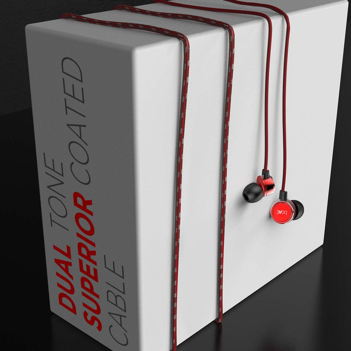 boAt BassHeads 172 with HD Sound, in-line mic, Dual Tone Secure Braided Cable & 3.5mm Angled Jack Wired Earphones (Red)