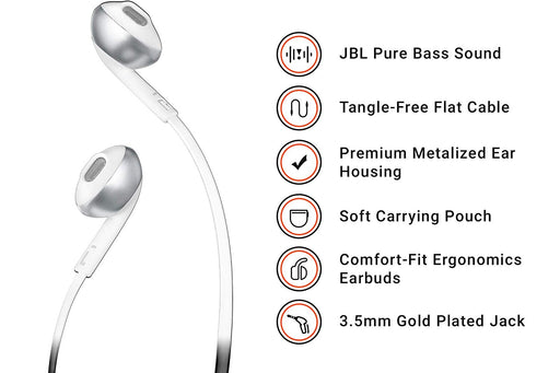 JBL T205 Pure Bass Metal Earbud Headphones with Mic (Silver)