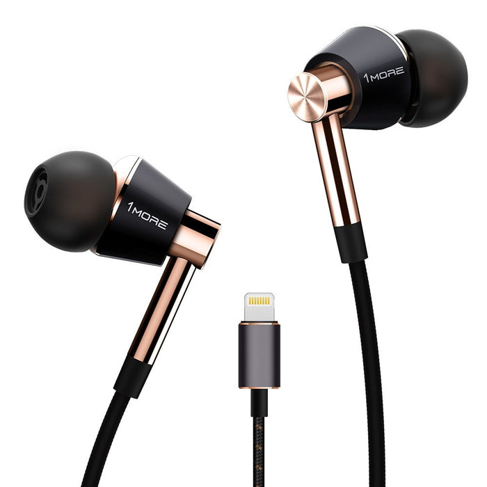 1MORE Triple Driver Lightning Earphones With In-built DAC, MIC & Volume MIC (Gold)