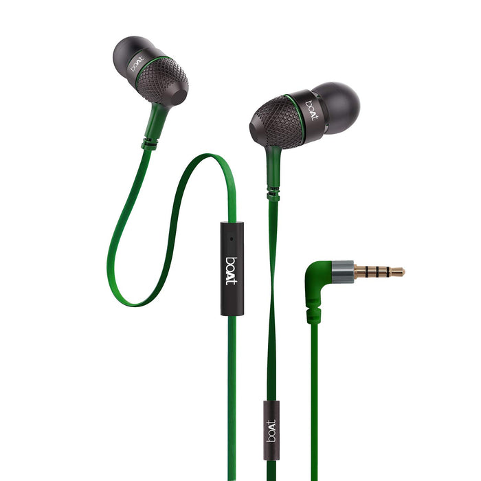 Boat BassHeads 228 Extra Bass with Pouch in Ear Wired Earphones with Mic (forest green )