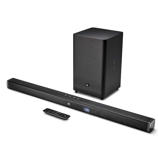 JBL Bar 2.1 Soundbar with Wireless Subwoofer (300 Watts, 4 Woofers, Dolby Digital, Surround Sound)