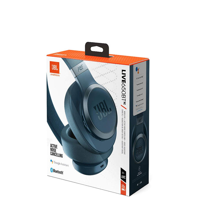 JBL Live 650BTNC Wireless Over-Ear Noise-Cancelling Headphones with Alexa (Blue)
