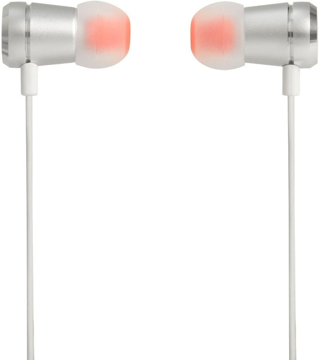JBL T290 Pure Bass All Metal in-Ear Headphones with Mic (Silver)