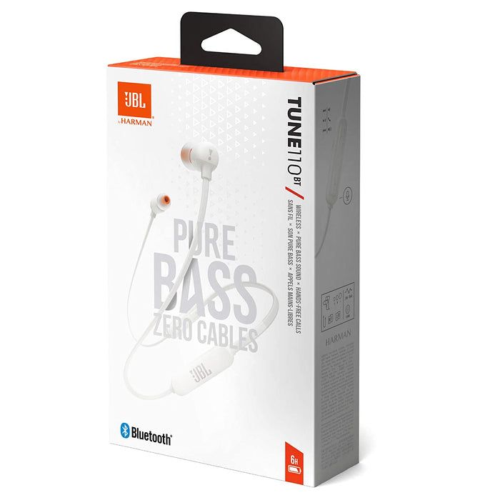 JBL Tune 110BT Pure Bass Wireless in-Ear Headphones with Mic (White)