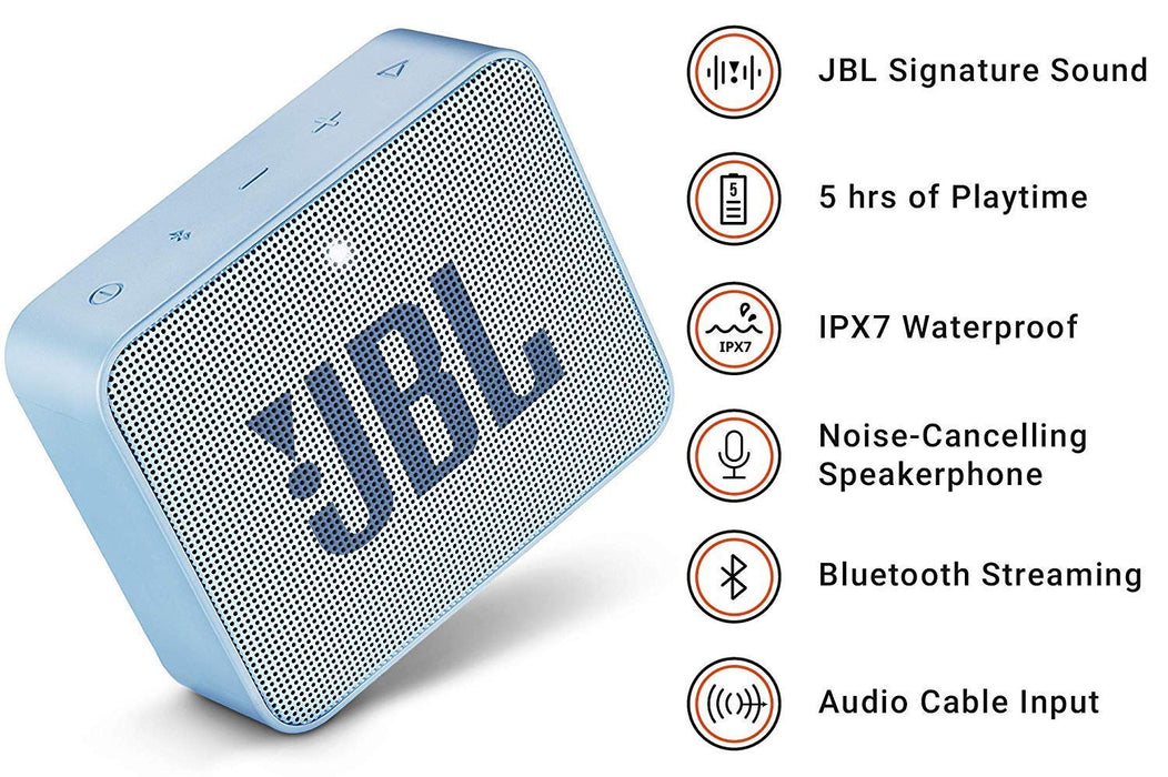 JBL Go 2 Portable Bluetooth Waterproof Speaker (Icecube Cyan)
