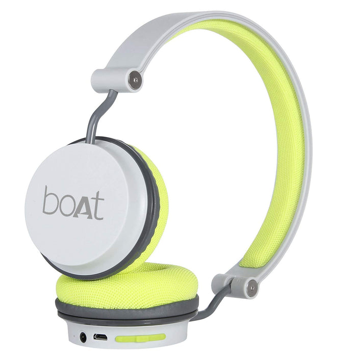 boAt Super Bass Rockerz 400 Bluetooth On-Ear Headphones with Mic (Grey/Green)