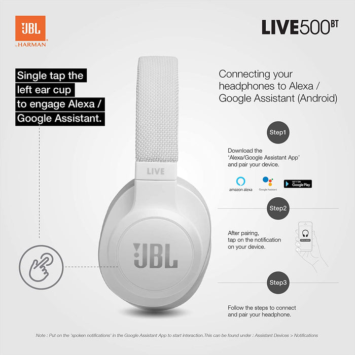 JBL Live 500BT Wireless Over-Ear Voice Enabled Headphones with Alexa (White)