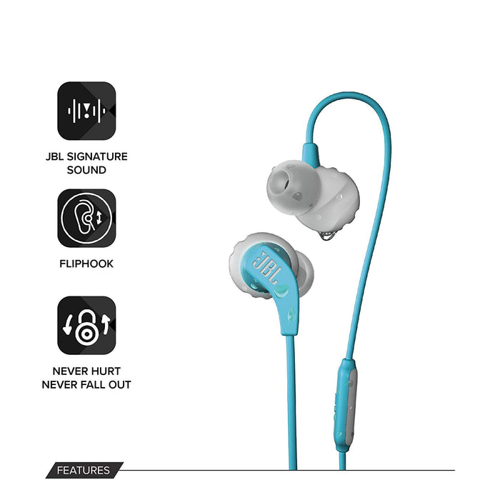 JBL Endurance Run Sweat-Proof Sports in-Ear Headphones with One-Button Remote and Microphone (Teal)