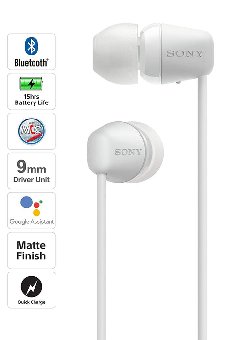 Sony WI-C200 Wireless In-Ear Headphones with 15 Hours Battery Life (White)