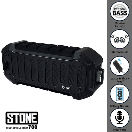 boAt Stone 700 Water Proof and Shock Proof Wireless Portable Speaker (Rugged Black)