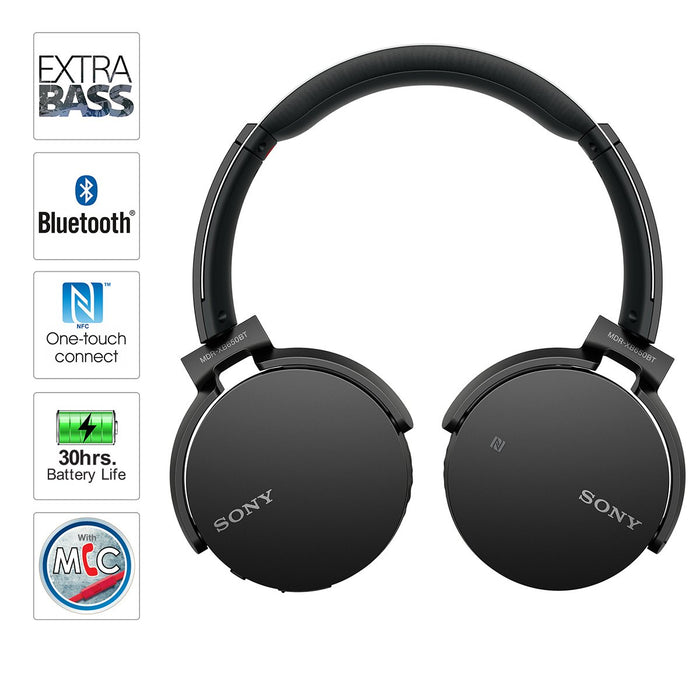 Sony MDR-XB650BT Wireless Extra Bass Headphones with 30 Hours Battery Life (Black)
