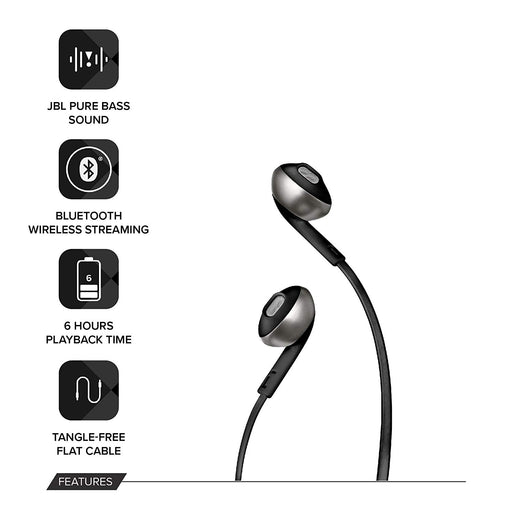 JBL T205BT Pure Bass Wireless Metal Earbud Headphones with Mic (Black)