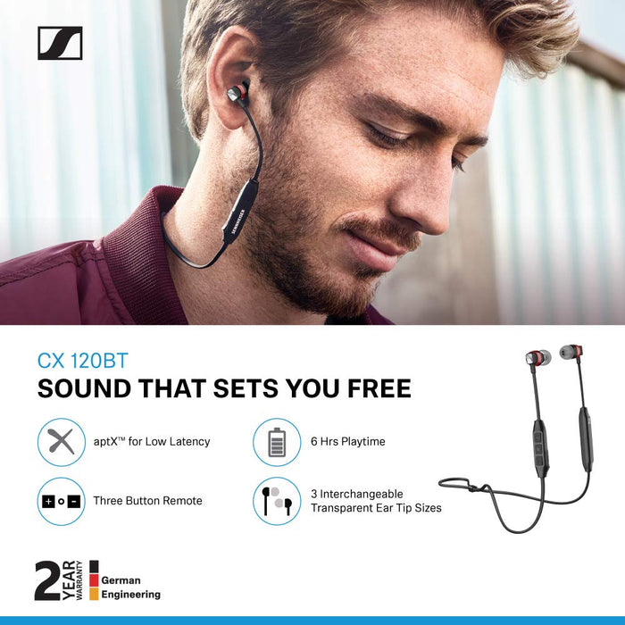 Sennheiser CX 120BT in-Ear Wireless Headphones