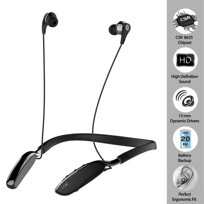 boAt Rockerz 385 Wireless Bluetooth Earphone with Mic (Onyx Black)