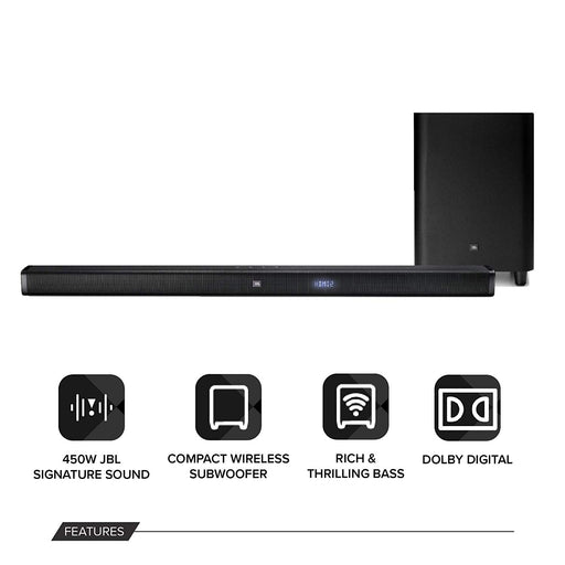 JBL Bar 3.1 4K Soundbar with Wireless Subwoofer (450 Watts, 6 Woofers, Dolby Digital, Surround Sound)