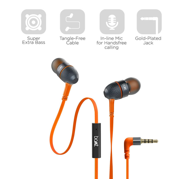 boAt BassHeads 220 in-Ear Super Extra Bass Headphones (Molten Orange)