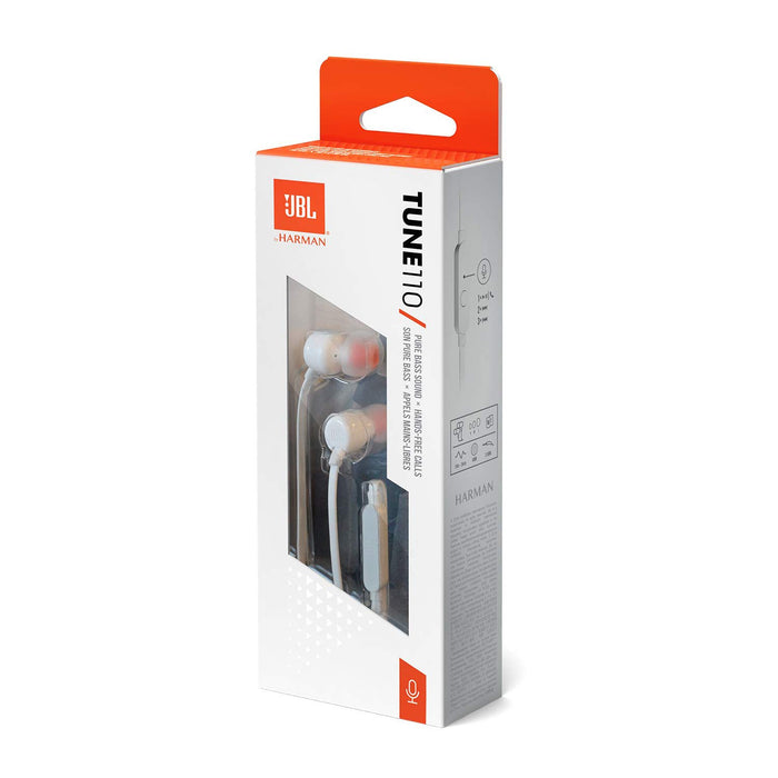 JBL Tune 110 in-Ear Headphones with Mic (White)