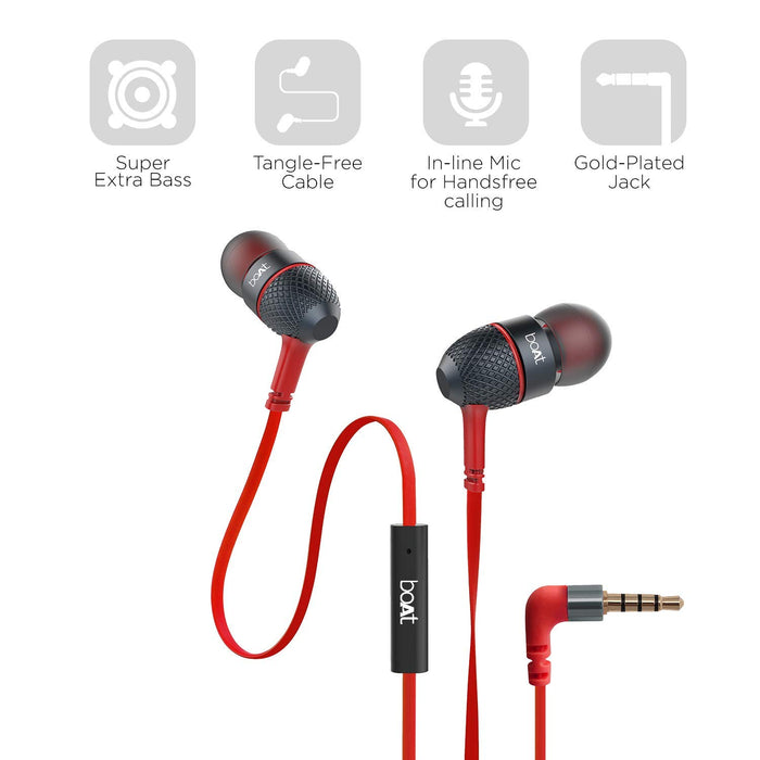 boAt Bass Heads 220 in-Ear Bass Headphones with One Button Mic (Red)